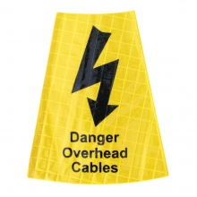 Danger Overhead Cables Yellow Traffic Cone Sleeve