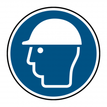 Head Protection Symbol Floor Graphic