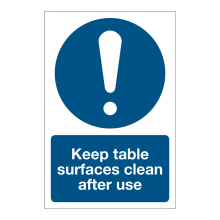 Keep Table Surfaces Clean Sign