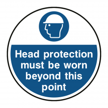 Head Protection Must Be Worn Floor Graphic