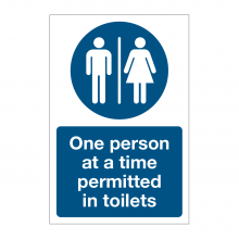 One Person At A Time Permitted To Use Toilet Sign