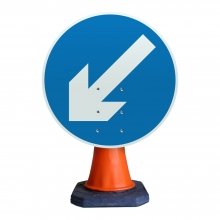 Reversible Keep Left or Right Cone Sign (P610)