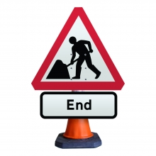 Road Works Ahead with End Cone Sign (P7001/P645)