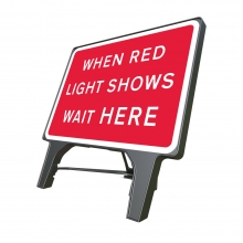 When Red Light Shows Wait Here Q-Sign (P7011)