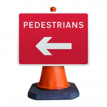 Pedestrians Left Cone Sign (P7018)
