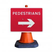 Reversible Arrow Pedestrians Cone Sign (P7018)