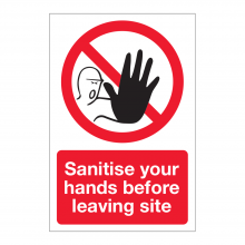 Sanitise Your Hands Before Leaving Sign