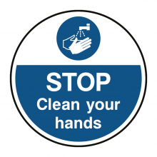 STOP Clean Your Hands Floor Graphic