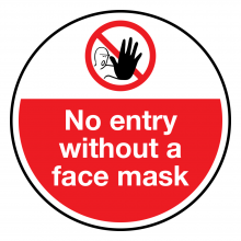 No Entry Without A Face Mask Floor Graphic